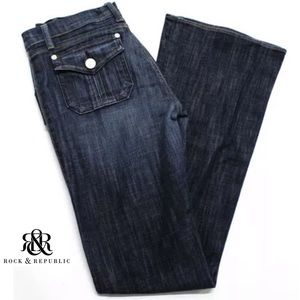 ROCK & REPUBLIC Dark Blue Wash Boot Cut Jeans
